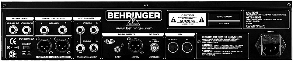 Behringer BASS V-AMP PRO Rear View