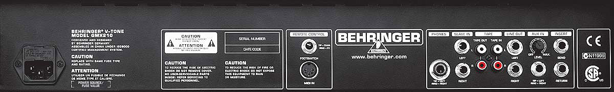 Behringer V-Tone GMX210 Rear View