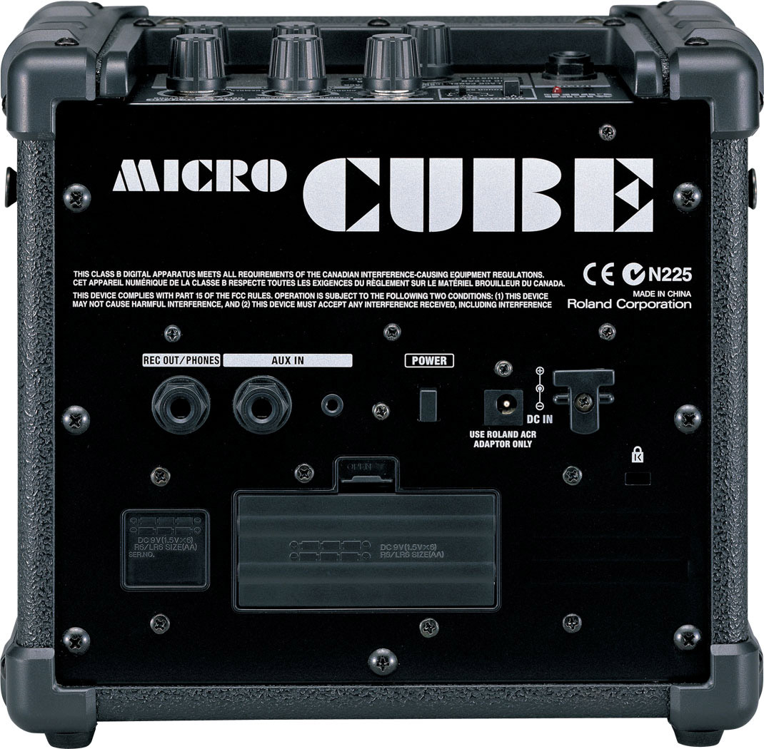 Roland MicroCube Blk Open Box Rear View