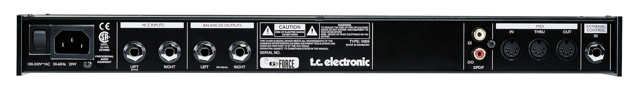 TC Electronic G-Force Open Box Rear View