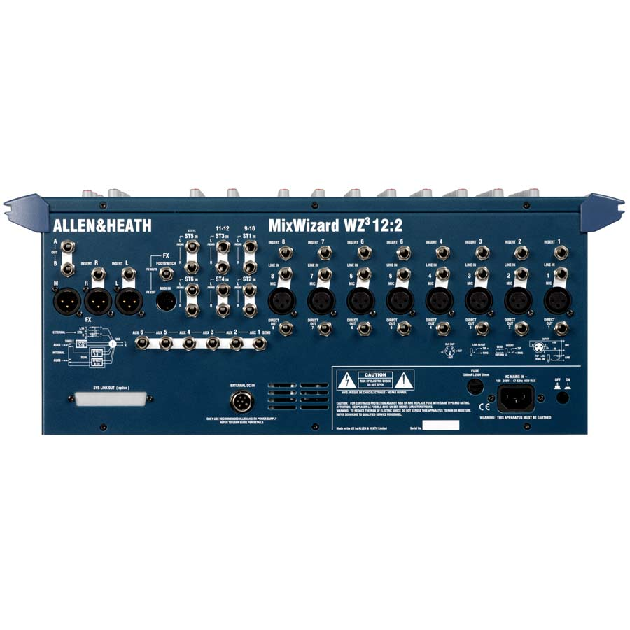 Allen Heath MixWizard3 12:2 Rear View