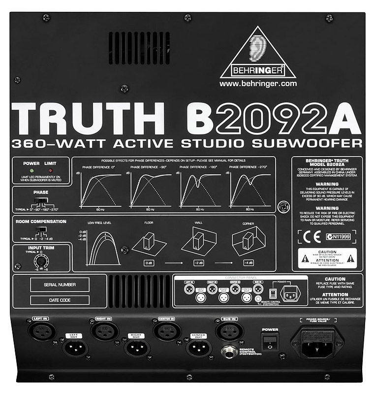 Behringer B2092A Rear View