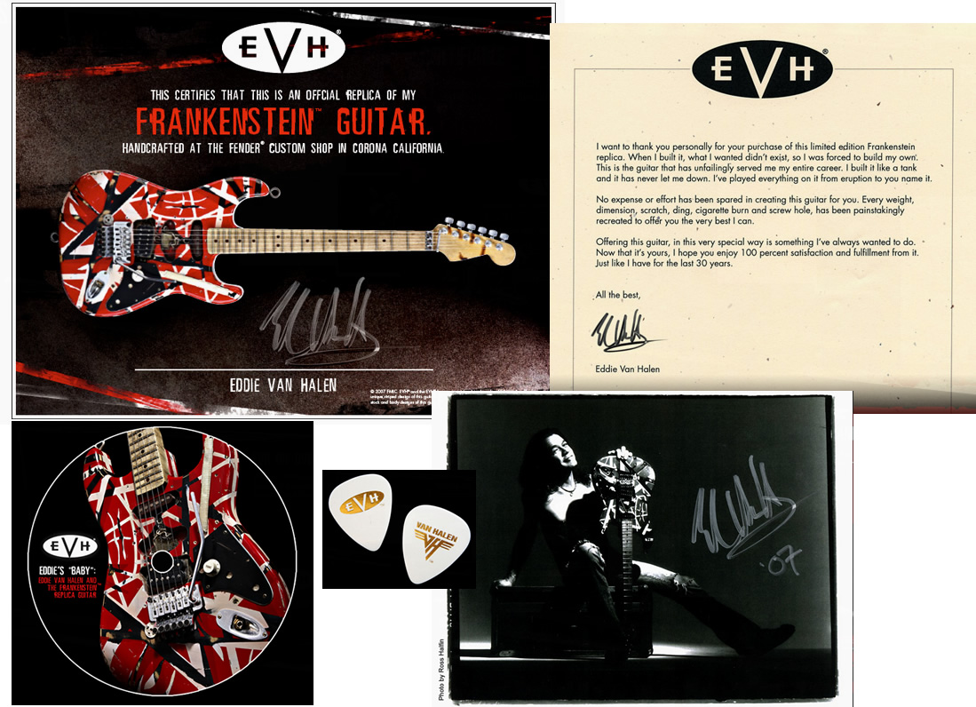 Includes Signed 8X10, Note from EVH, Signed Certificate, The Making Of DVD, Limited VH/EVH Picks