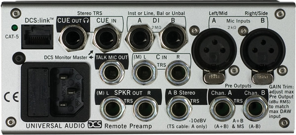 Universal Audio DCS Dual Preamp Remote Rear