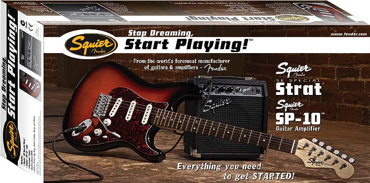 Squier Stop Dreaming Start Playing SE Special with Squier SP-10 Amp - Arctic White Box View