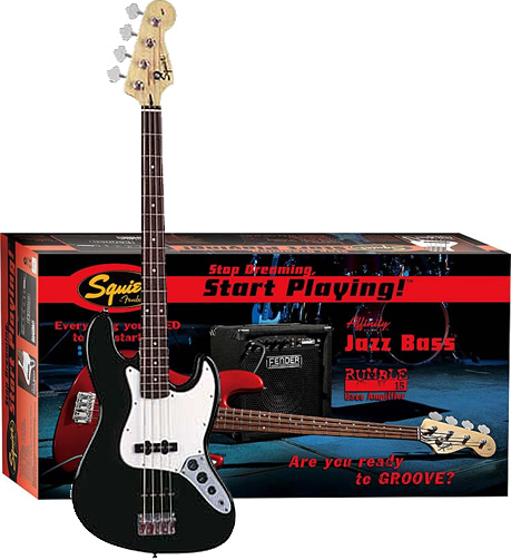 Stop Dreaming, Start Playing! Affinity J Bass with Rumble 15 Amp - Black