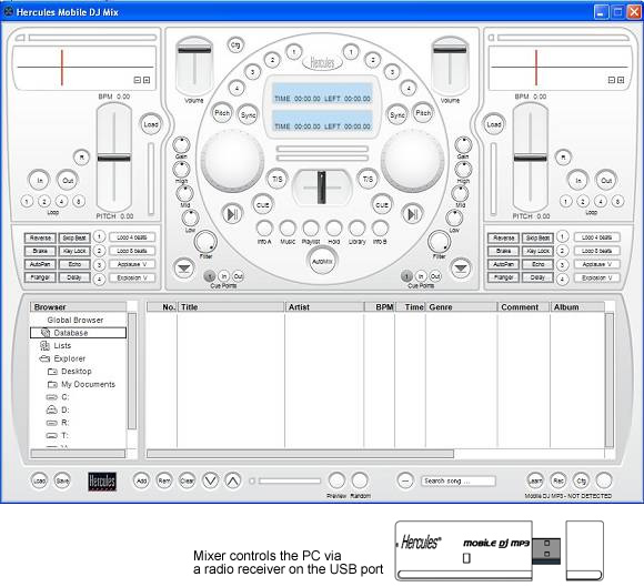 Hercules Mobile DJ MP3 (Black Finish) Software Screenshot