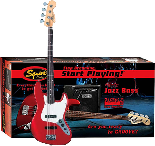 Stop Dreaming, Start Playing! Affinity J Bass with Rumble 15 Amp - Metallic Red