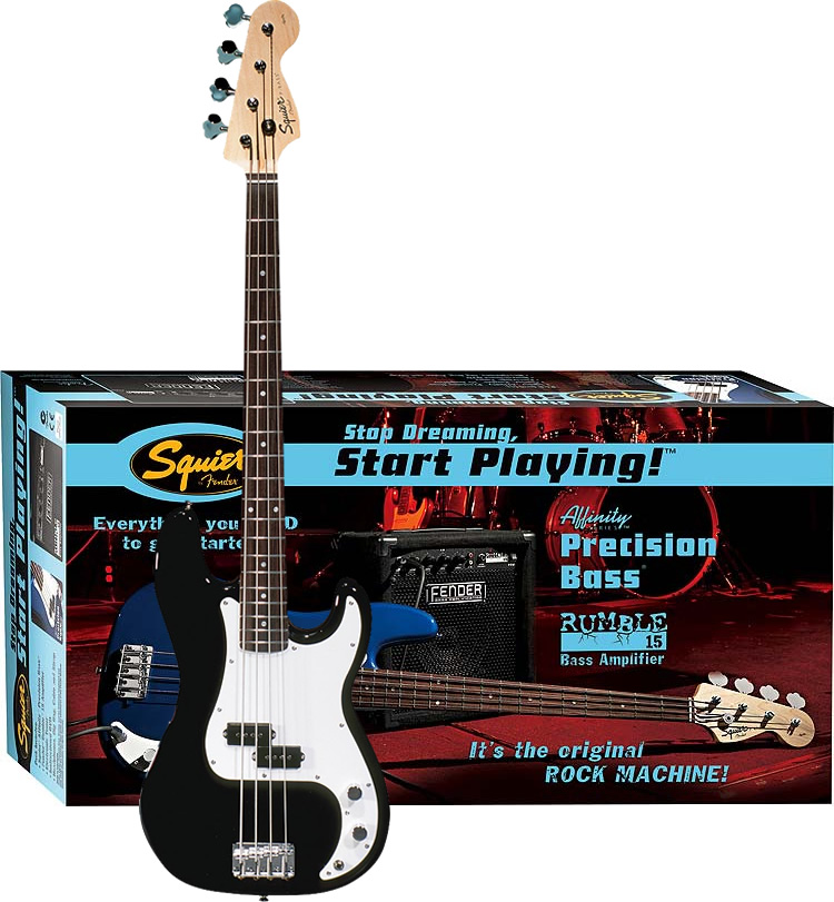 Squier Stop Dreaming, Start Playing! Affinity P Bass with Rumble 15 Amp - Black Box View
