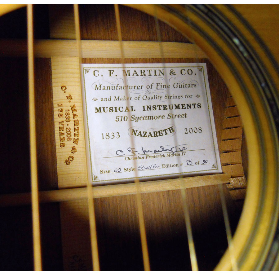 Martin 00 Stauffer 175th Interior Label