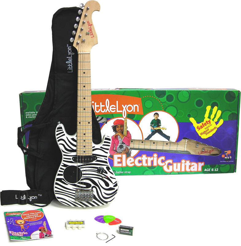 Washburn Little Lyon Mini Electric Guitar with Built in Amp - Zebra Finish Complete Package