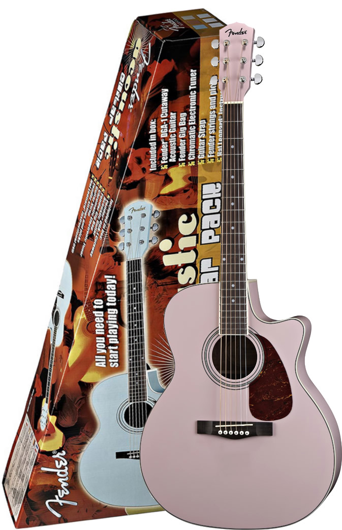 DGA1 Acoustic Guitar Pack - Pink Finish