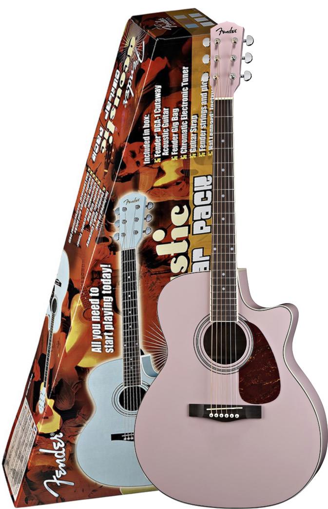 DGA1 Acoustic Guitar Pack - Pink Finish
