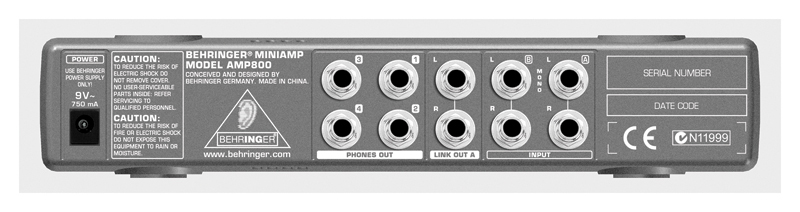 Behringer AMP800 Back View