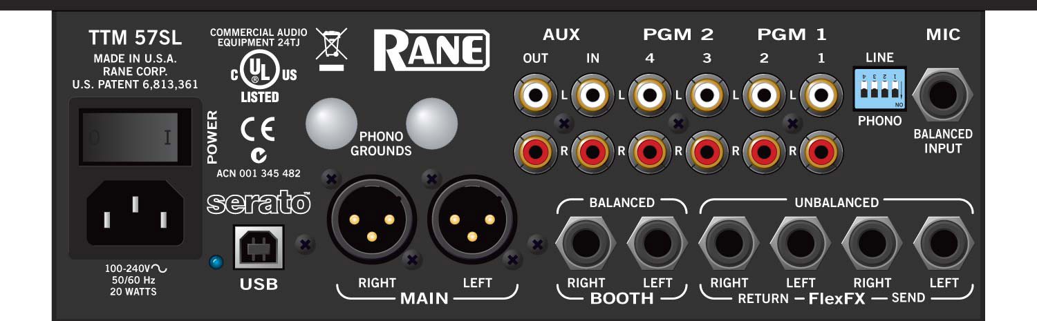 Rane TTM 57SL Serato Mixer Rear View