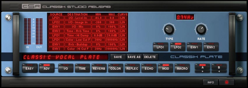 Ik Multimedia CSR Classik Studio Reverb Modulation Matrix