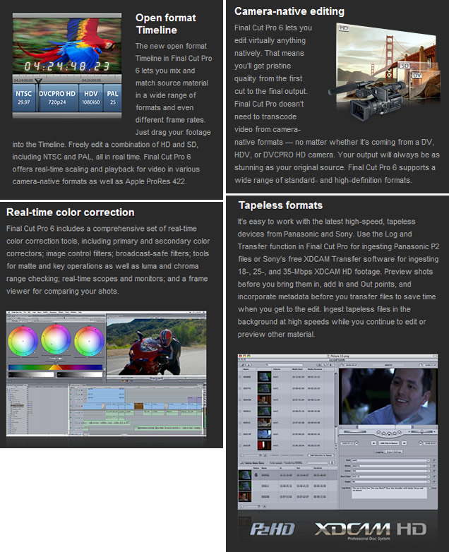 Includes Final Cut Pro 6