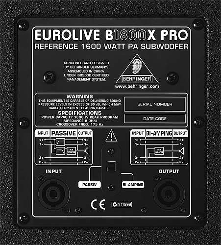 Behringer B1800X Pro Rear Panel View