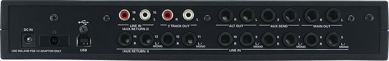 Edirol M-16DX I/O Rear