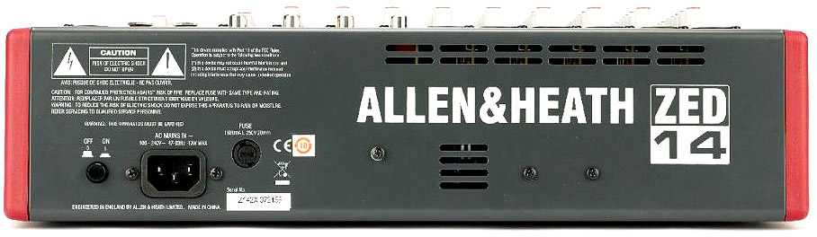 Allen Heath ZED-14 Rear View