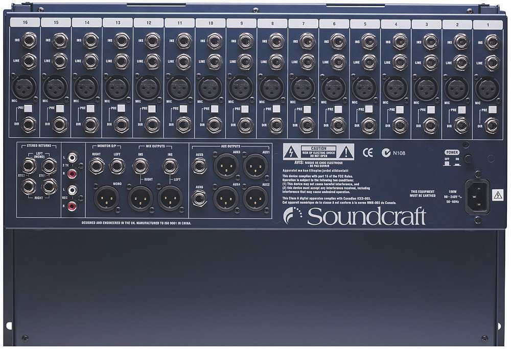 Soundcraft GB2R-12+2 Rack Rear View