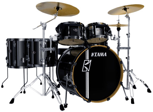 Superstar Hyper Drive 4-Piece Drum Kit - Brushed Metallic Black