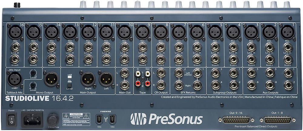 Presonus StudioLive 16.4.2 Mixer & FireWire Recording- USED! Rear View