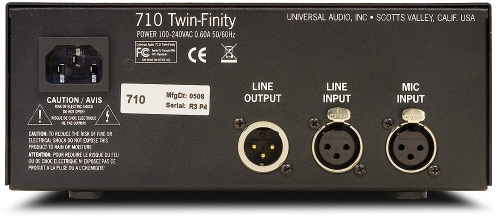 Universal Audio 710 Twin-Finity Rear View
