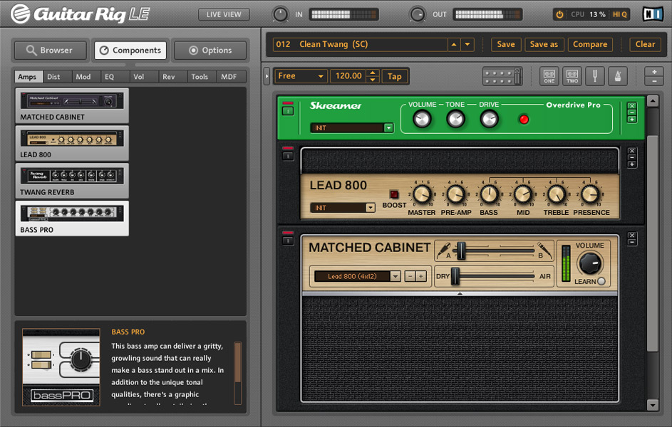 Native Instruments Guitar Rig Mobile Screenshot View 1