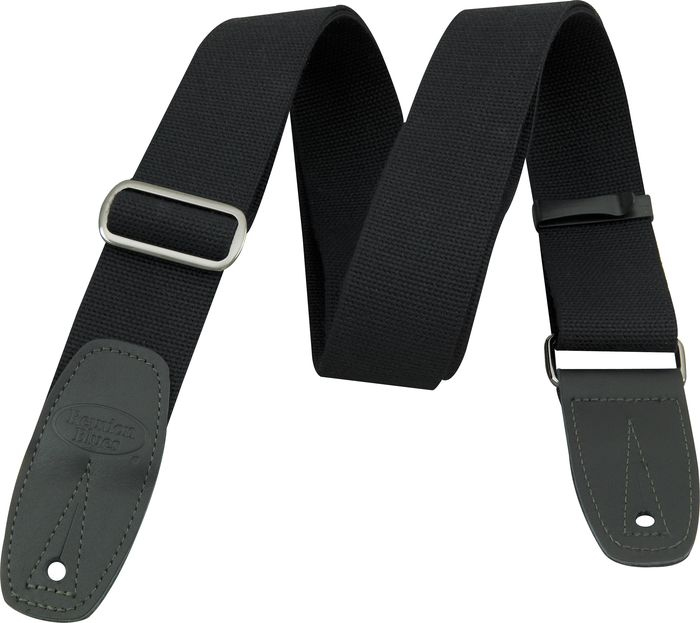 Merino Wool Guitar Strap - Black with Black Leather Tabs