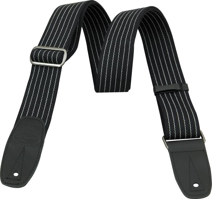 Merino Wool Guitar Strap - Pinstripe with Black Leather Tabs