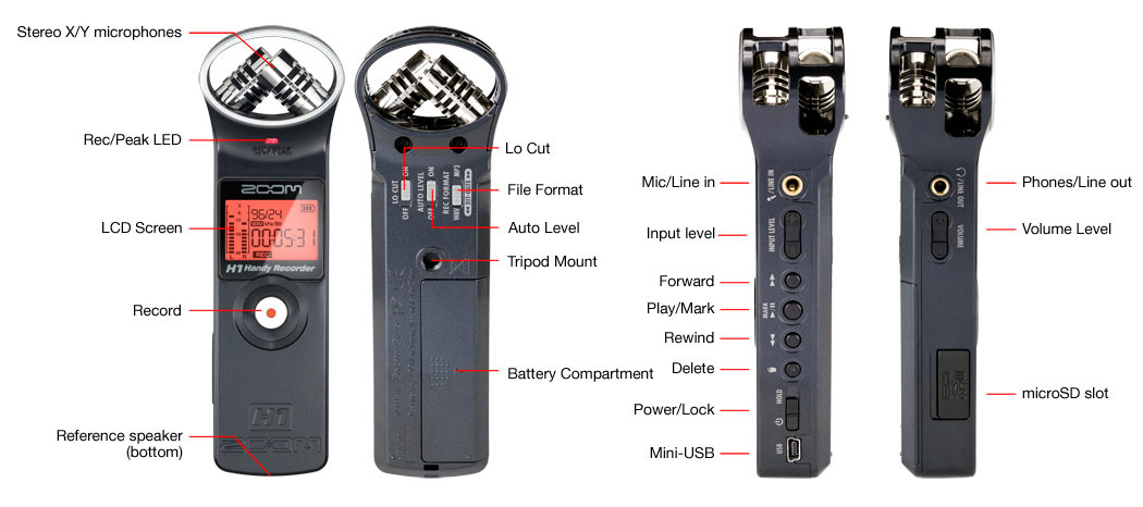 Zoom H1 Recording Bundle Detail View H1 Recorder