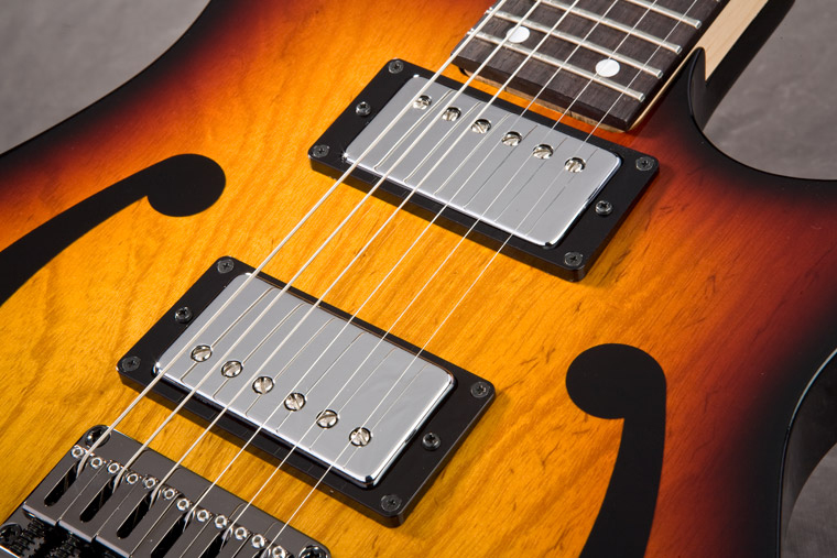 Paul Gilbert's new PGM401TFB boasts DiMarzio Air Classic pickups in bridge and neck position.