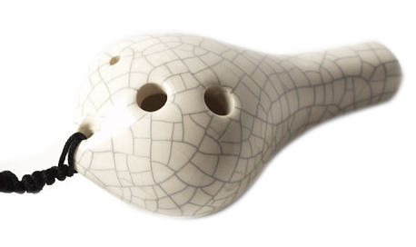 Teardrop Pendant Ocarina in Soprano G - White Crackle