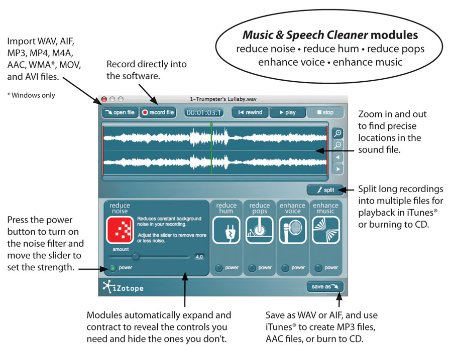 iZotope Music & Speech Cleaner Screenshot with Pullouts