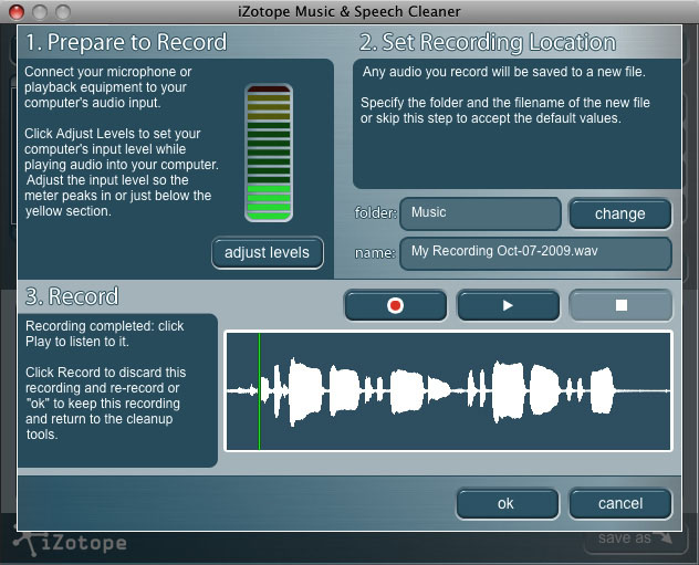 iZotope Music & Speech Cleaner Record Window