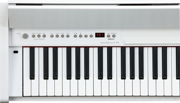 Roland F-110 Compact Digital Piano - White Black Close Up