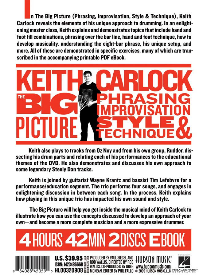 Hudson Music Keith Carlock: The Big Picture Back Cover