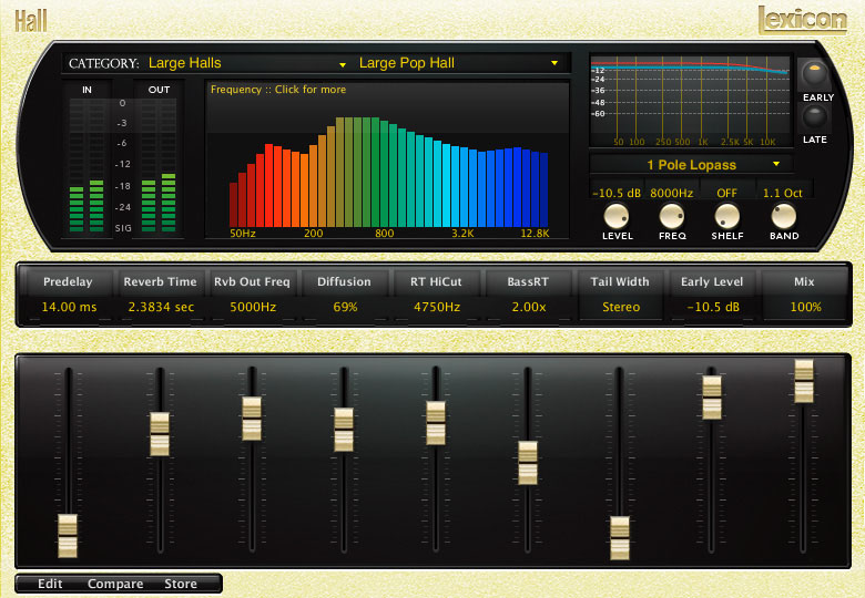 Lexicon PCM Native Reverb Plug-in Bundle Hall Frequency Lopass
