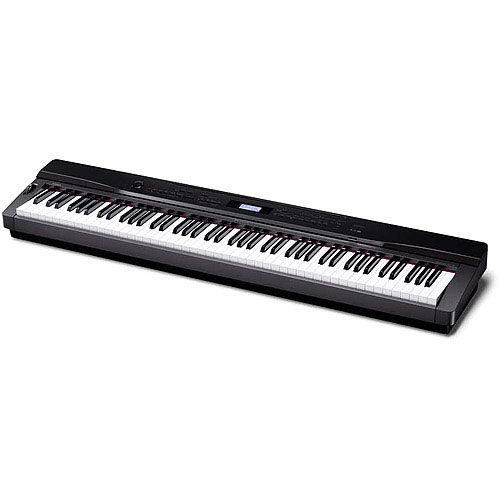 Casio PX330 88 Key Digital Stage Piano with Tri-Sensor Scaled Hammer Action Angled View