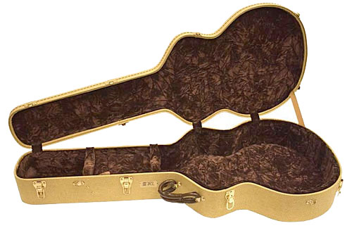TKL 8920TW Professional Arch-Top Jumbo Guitar Case - Tweed Case Interor