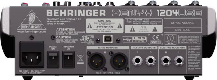 Behringer XENYX  1204USB Open Box Rear View