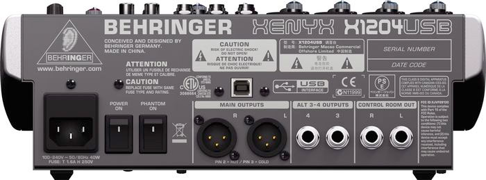 Behringer XENYX  X1204USB Rear View
