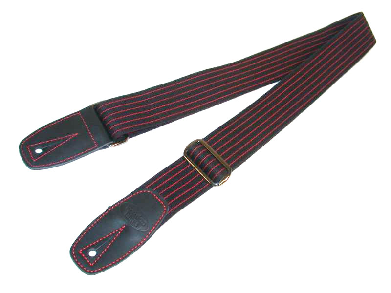 Merino Wool Guitar Strap - Red Pinstripe with Black Leather Tabs
