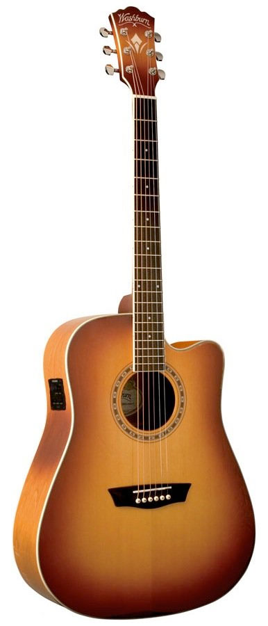 WD7SCE Dreadnought Acoustic-Electric Guitar - Matte Cherry Burst
