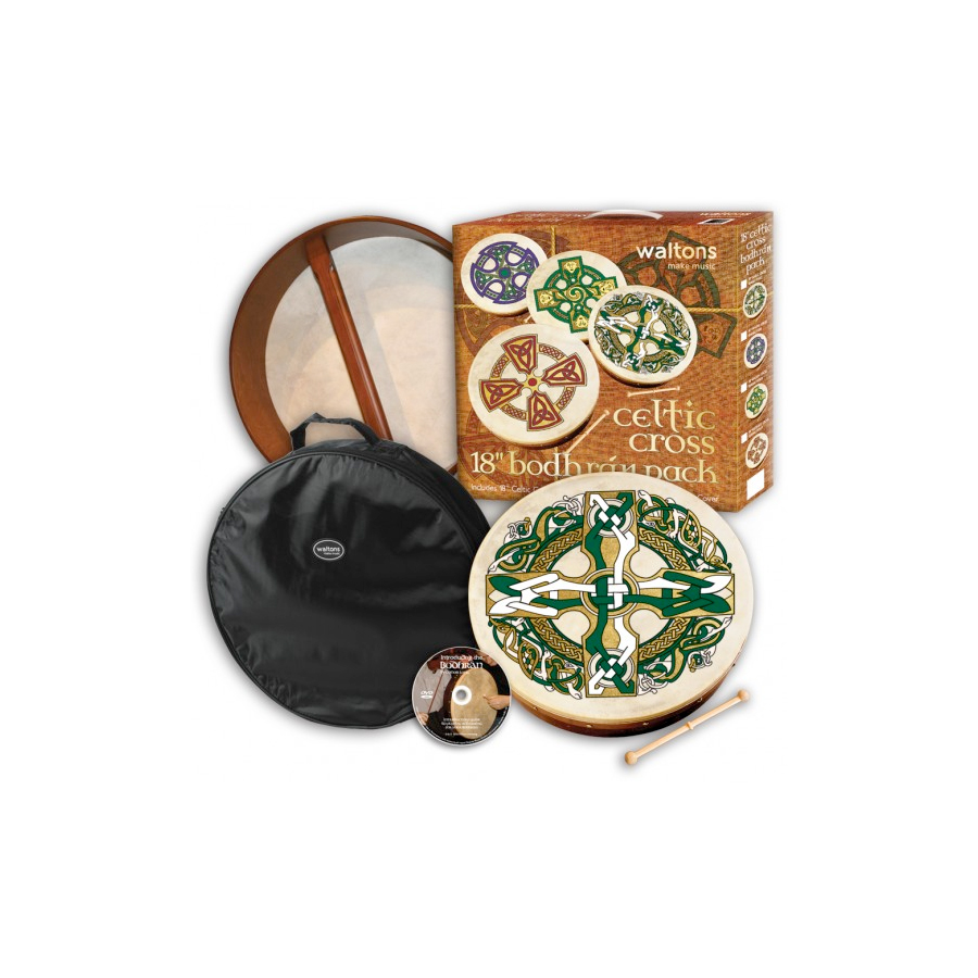 Gaelic 18-inch Bodhran Package - Celtic Cross