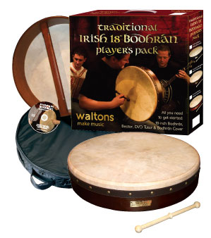 Waltons 18-inch Bodhran Package - Classic Dark Brown Package Contents