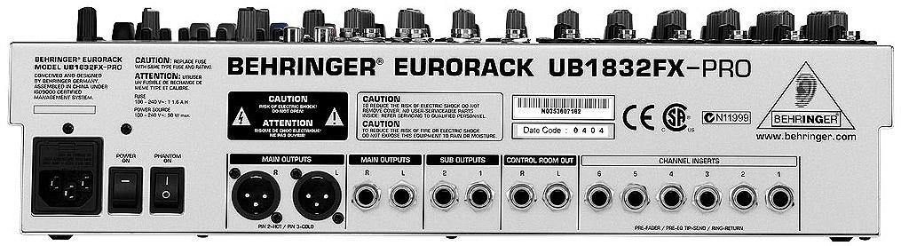 Behringer EURORACK UB1832FX-PRORear View