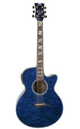 Performer Acoustic Electric Guitar Quilt Ash Trans Blue