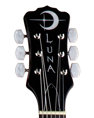 Luna Guitars 6-String Celtic Banjo Headstock Detail